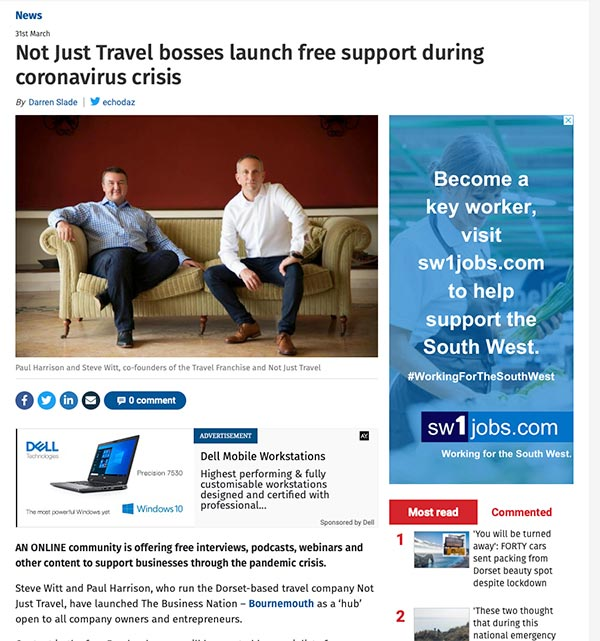 Bournemouth Echo and Not Just Travel